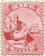 Liberia's first postage stamp